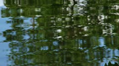 Green Rippling Reflection Lake Water and Raindrops Stock Footage