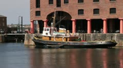 Tug boat in Albert Dock, Liverpool Stock Footage