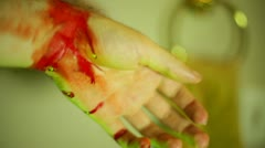 DEAD BODY bloody blood hand gross haloween halloween Stock Footage