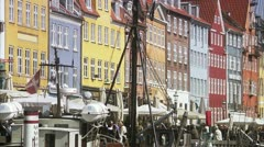 MS View of Nyhavn Copenhagen Stock Footage
