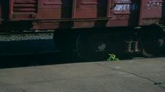 Railroad car wheels Stock Footage
