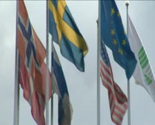 Flags blowing in wind. Stock Footage