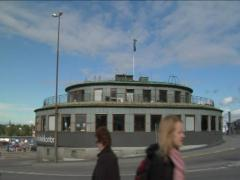 Round architects office at slussen in Stockholm Stock Footage