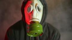 Gas mask nerve gas mustard gas danger smoke Stock Footage