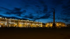 Hermitage Museum in White Nights, St. Petersburg, Russia (timelapse) - stock footage