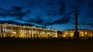 Stock Video Footage of ZOOM: Hermitage in White Nights, St. Petersburg, Russia (timelapse)