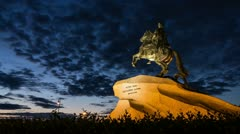 Peter The Great Statue in White Nights, St. Petersburg, Russia (timelapse) Stock Footage