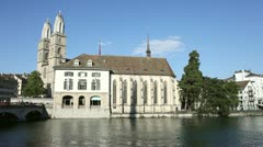 HD Pan: City of Zürich (Switzerland) - Grossmünster Stock Footage
