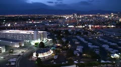Outskirts of Las Vegas at night. Car camping. Bird's-eye view. Stock Footage