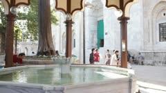 Fountain under Big Mosque in Bursa Stock Footage