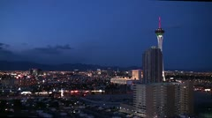 Outskirts of Las Vegas at night. Bird's-eye view. Stock Footage