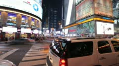 Crowd of people walking in Times Square New York City at night time lapse 30p Stock Footage