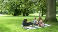 WS Family having picnic in park Stock Footage