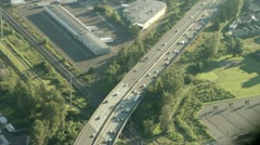 Aerial View of Highway Commuter Traffic on Early Morning Stock Footage