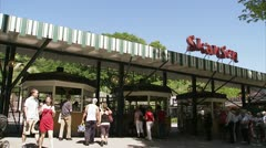 People outside the open air museum Skansen, Stockholm Stock Footage