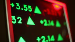 Stock market ticker plain computer screen Stock Footage
