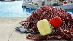 Balearic islands formentera port with trammel fisher nets buoys and fishingboats Stock Footage