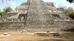 Maya Pyramid, Mayan Ruins Becan Mexico Stock Footage