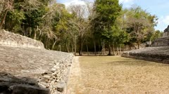Maya Ballcourt, Mayan Ruins Becan Mexico Stock Footage