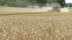 WS Wheat field, combine harvester in background - stock footage