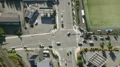 Road Intersection in Suburban Area - Aerial Perspective Stock Footage