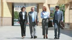 Business meeting outdoors Stock Footage