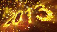 Stock Video Footage of greetings new year 2013 of shining yellow elements