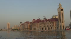 Jinwan Square at sunset, Tianjin, China Stock Footage