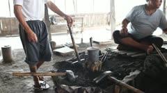 Blacksmith's shop on Inle lake Stock Footage