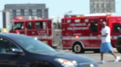 Los Angeles Fire Department on Accident Scene Stock Footage