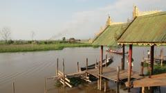 Boat pier in Nga Phe Kyaung Monastery Stock Footage