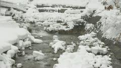 Famous Japanese snow monkeys in the distance, Jigokudani, Nagano, Japan. Stock Footage