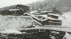 Traditional Japanese hot-spring bath house, Jigokudani, Nagano, Japan. Stock Footage