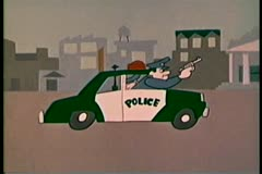 Cartoon of cops in police cruiser chasing robber Stock Footage