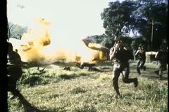 Slow motion soldiers blowing up military base Stock Footage
