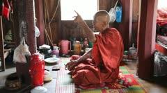 Monk inside Monastery Stock Footage