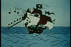 Pirate ship playing music Stock Footage