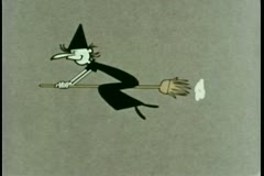 Witch flying on broomstick Stock Footage