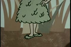 Pan up girl wearing matching  dress, hat, and shoes made of leaves Stock Footage