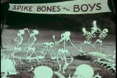 Cartoon of dancing skeletons Stock Footage