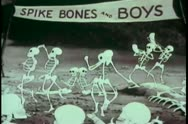 Stock Video Footage of Cartoon of dancing skeletons
