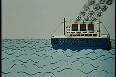 Ship sailing on the ocean - stock footage