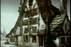 Cartoon of house fire climbing to second story Stock Footage