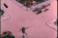 Aerial view of cartoon car crash at intersection Stock Footage