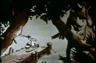 Young boy fishing by river Stock Footage