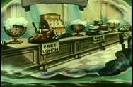 Wide shot free lunch buffet Stock Footage