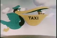 Cartoon of flying pelican taxi Stock Footage
