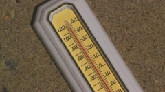 Heatwave thermometer and ant Stock Footage