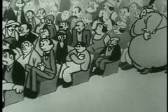 Large woman trying to find a seat in crowded theater Stock Footage