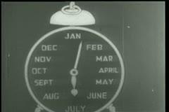Close-up of cartoon alarm clock labeled January through December Stock Footage